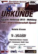 Urkunde Speed Wolfsberg